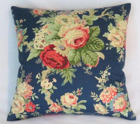 sanctuary rose pillow cover of blue floral waverly fabric