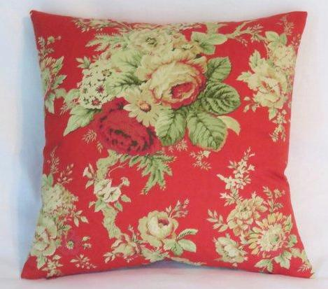 Red rose floral pillow cover of Waverly Sanctuary rose fabric