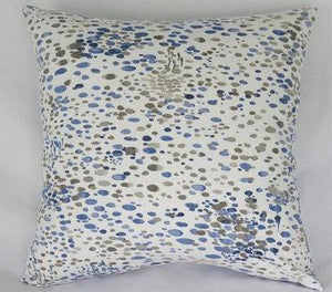 blue grey white spattered pillow cover