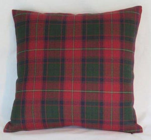 dark red green tartan plaid pillow