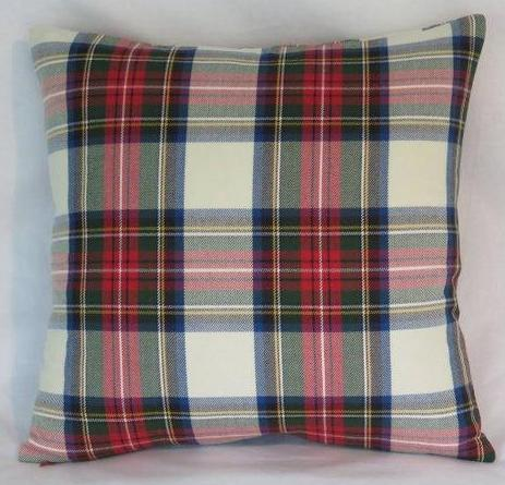 white red green tartan plaid pillow