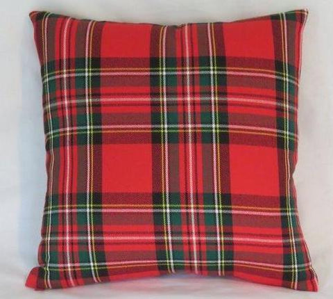 bright red green tartan plaid pillow