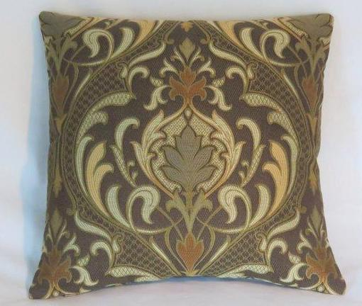brown art nouveau pillow cover