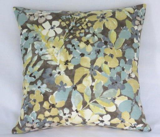 teal gold brown floral pillow cover of Robert Allen sonata aloe fabric