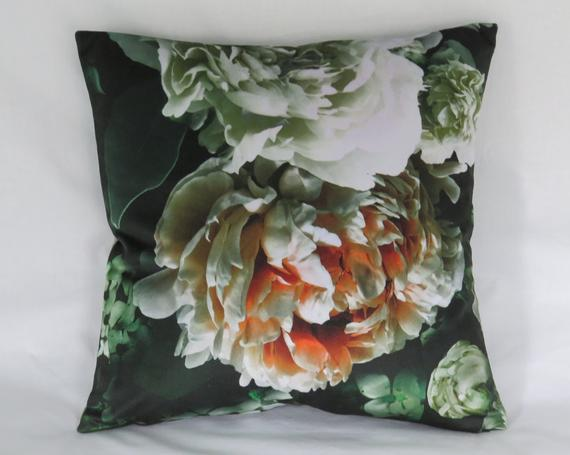 White and Blush Pink Rose Pillow Cover on Black Velour