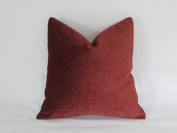 rust chenille pillow cover