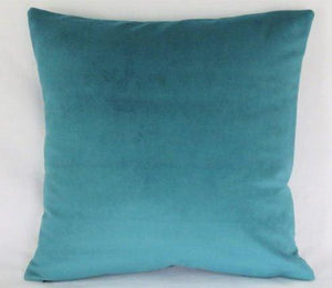 "Teal velveteen pillow cover 17"" suede-like texture"
