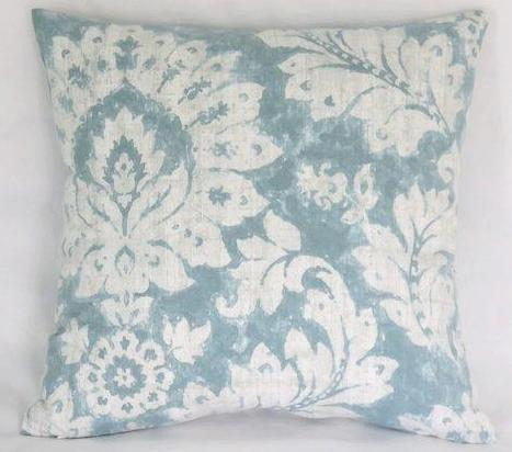 Teal green damask print pillow