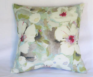 hibiscus floral pillow in white aqua lime magenta