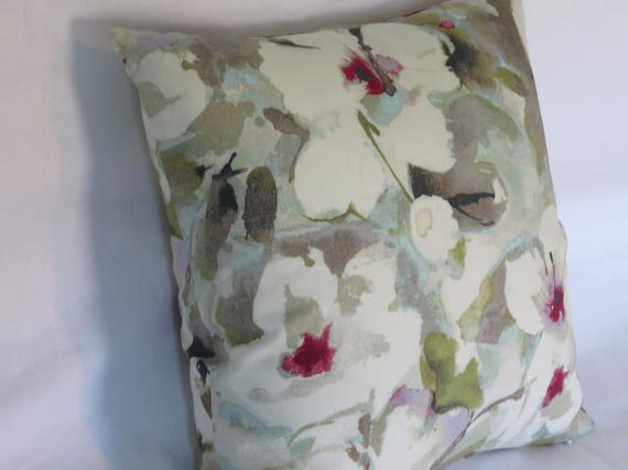 hibiscus tropical pillow in white aqua grey magenta