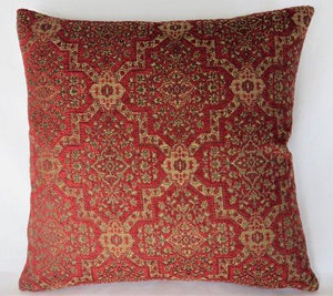 red medallion chenille pillow, tapestry carpet style