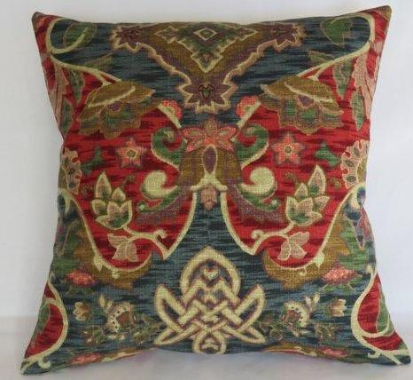 red blue barkcloth colorful pillow with moroccan medallion