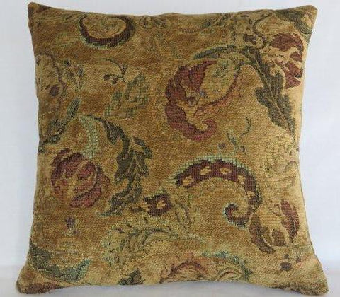 golf floral chenille pillow with teal and maroon
