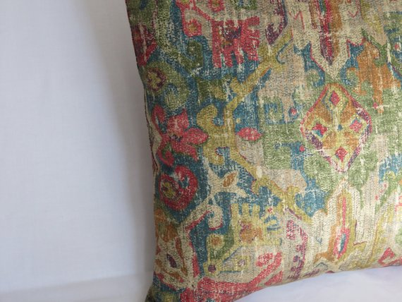gold red blue distressed moroccan medallion pillow