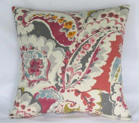 Red Grey Teal Paisley Pillow Cover, Aretha Large Scale Linen Print
