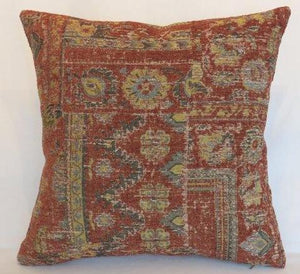 rust gold grey chenille southwest kilim pillow