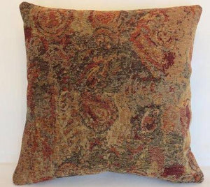 paisley chenille pillow in gold, rust, gray