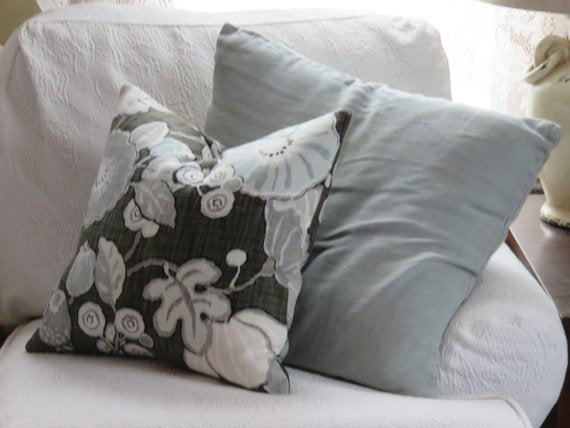 p. kaufmann hip charcoal pillow grey and pale blue morning glories