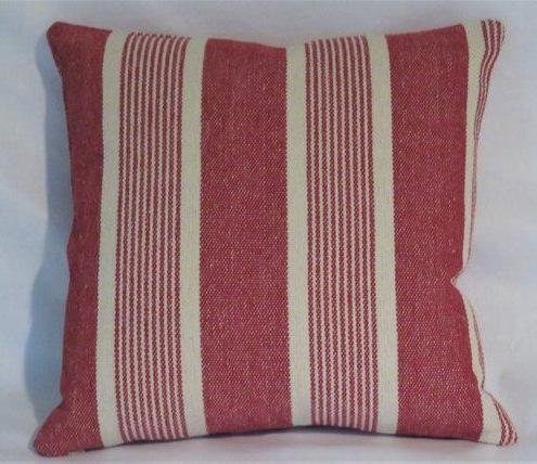 cranberry red farmhouse ticking pillow