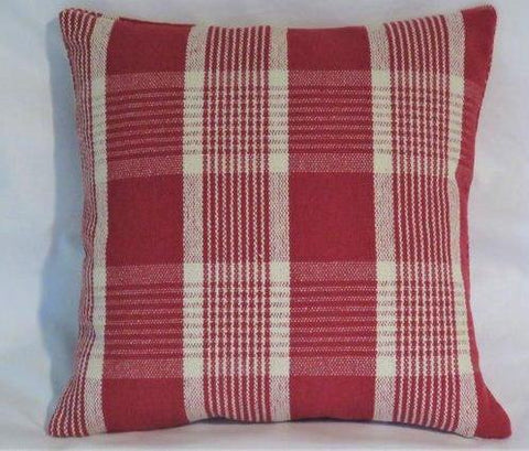 cranberry red heavy farmhouse plaid pillow
