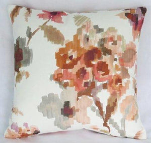 Rust and Purple watercolor floral pillow