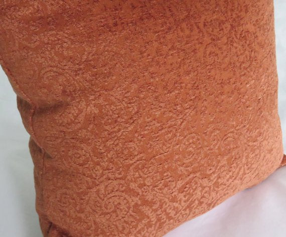 terracotta rust sculpted chenille pillow