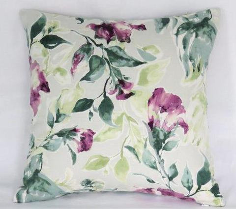teal and purple watercolor floral pillow in Kelly Ripa fabric