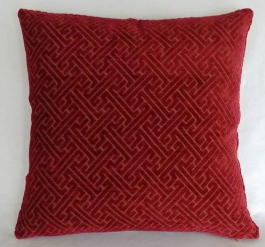 Garnet chenille greek key pillow
