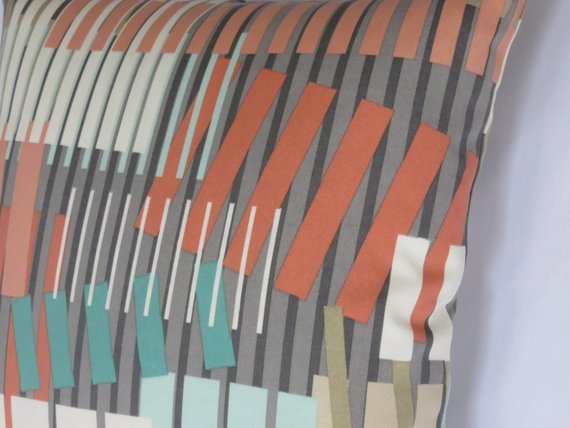 coral aqua grey bars contemporary pillow