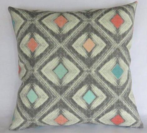 grey aqua coral diamond pillow