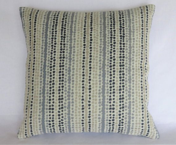 indigo and grey rows of dots pillow