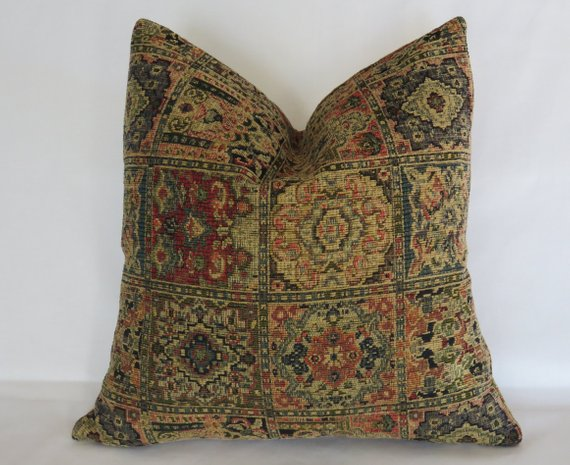 navy red tan chenille carpet tapestry pillow - vintage look