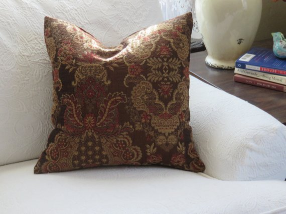 brown rust gold floral damask pillow
