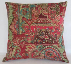 red teal green paisley patchwork pillow