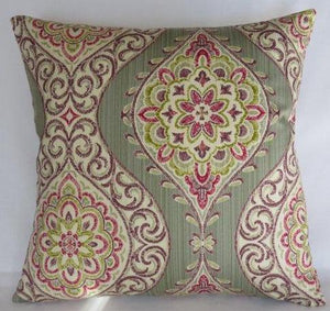 sage green ogee medallion pillow with purple, fuchsia, and metallic gold