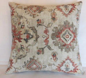coral and grey southwest pillow