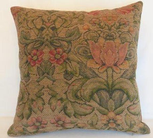 mission style tulip pillow chenille in tan coral green
