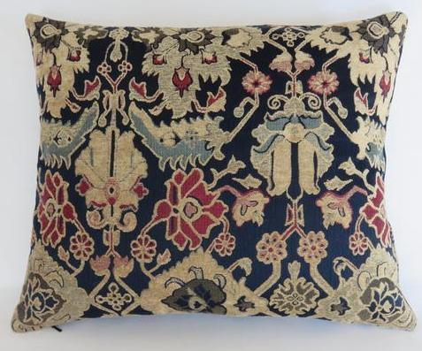 navy wine beige chenille brocade pillow - kilim carpet pattern