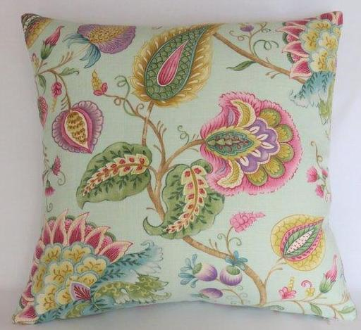 colorful indienne floral pillow on pale blue