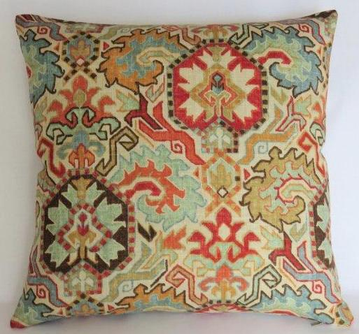 aqua and orange southwest pillow richloom madrid