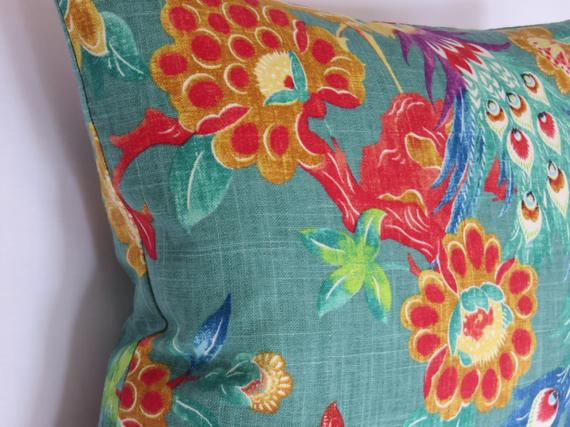 colorful peacock pillow - richloom Preen in jade green
