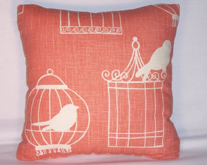 coral orange bird cage pillow