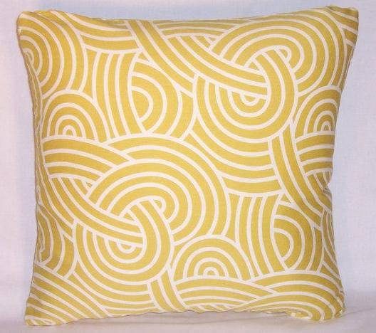 yellow swirl pillow