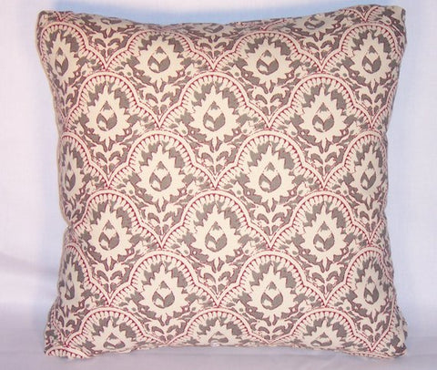 grey red hand print pillow