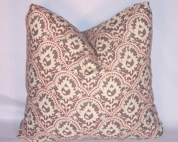 ethnic floral block print pillow