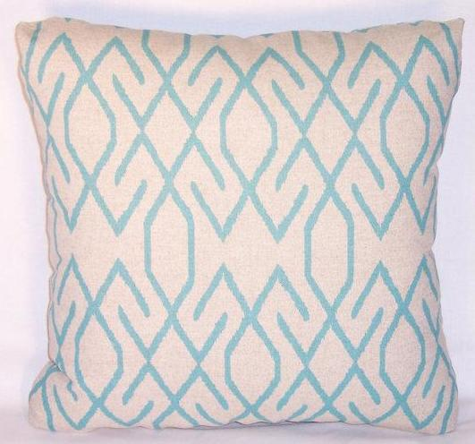 turquoise tan linen pillow
