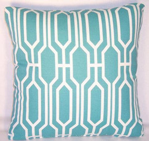 turquoise and white covington pillow
