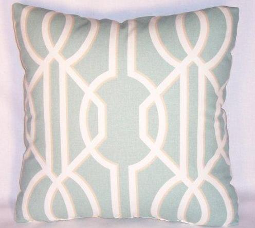 light aqua lattice pillow