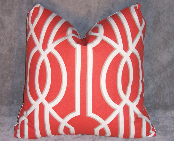 Red Lattice Throw Pillow Cover