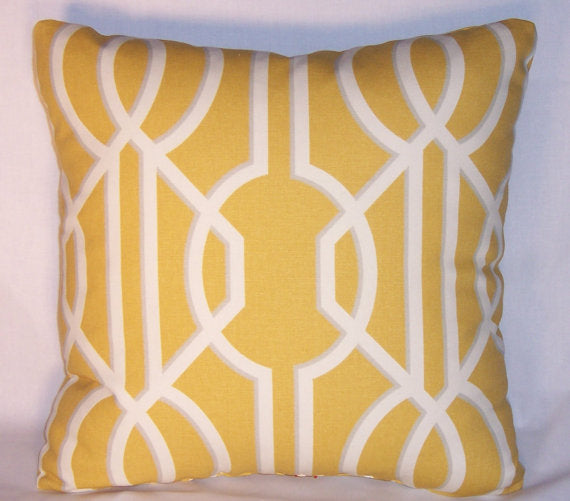 yellow white lattice pillow